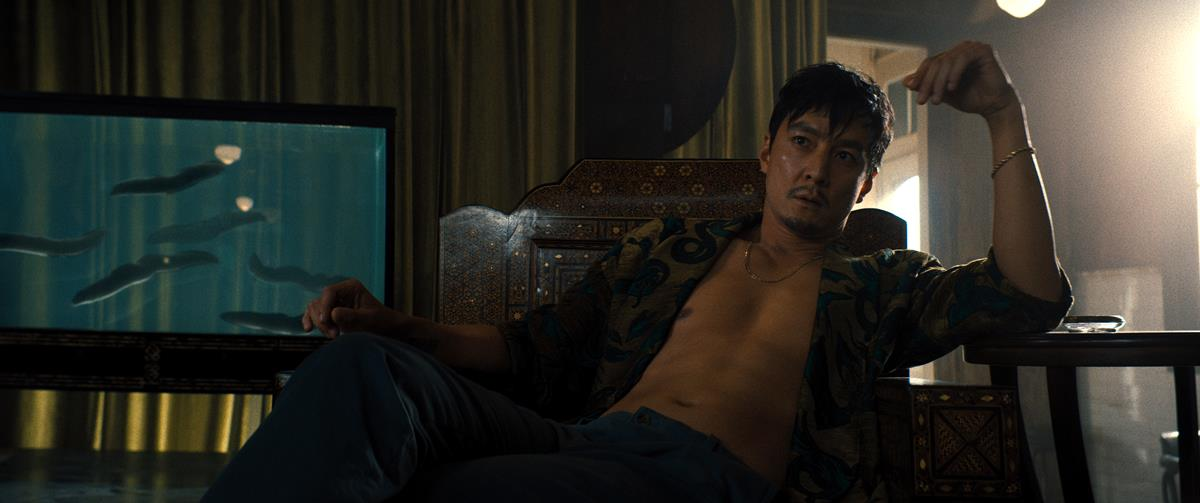 "Daniel Wu as Saint Joe in ""Reminiscence."" Cr: Warner Bros. Pictures"