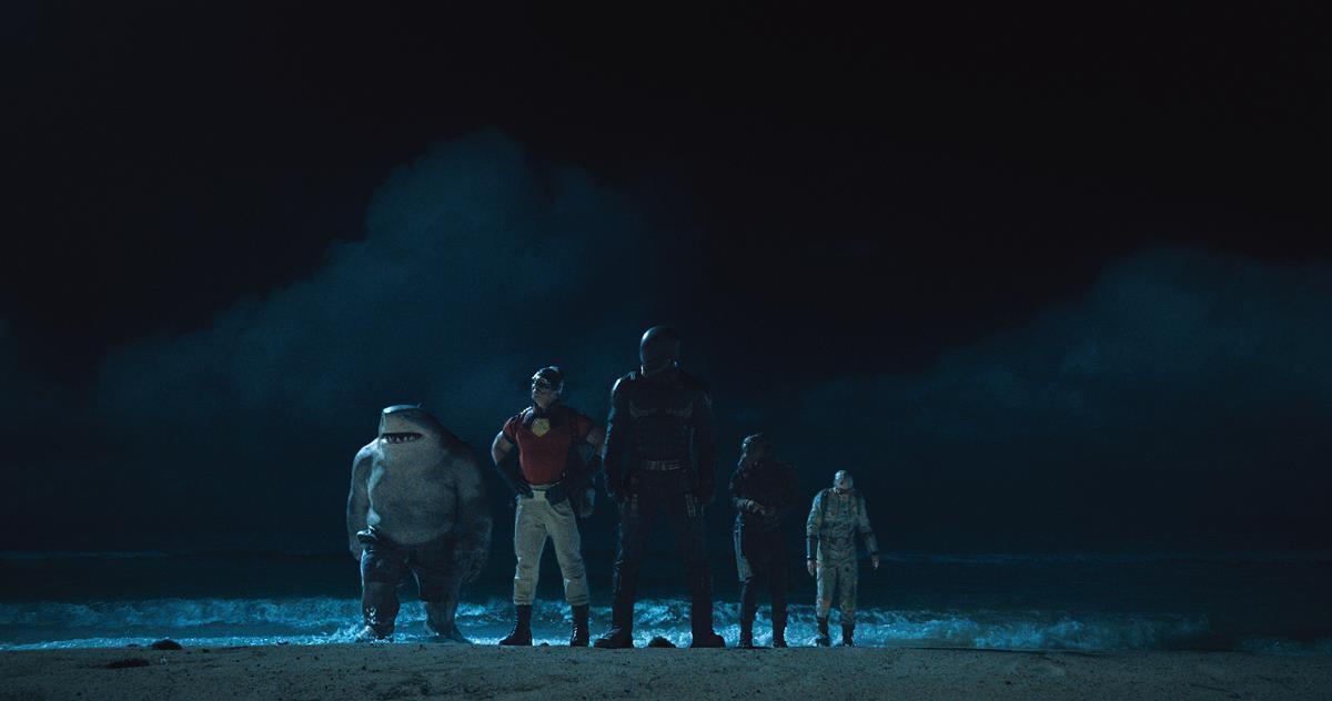 "King Shark, John Cena as Peacemaker, Idris Elba as Bloodsport, Daniela Melchior as Ratcatcher 2 and David Dastmalchian as Polka-Dot Man in director James Gunn's ""The Suicide Squad."" Cr: Warner Bros. Pictures/DC Comics"