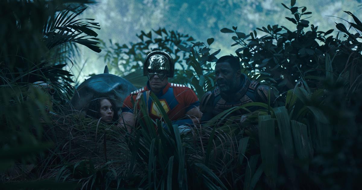 "David Dastmalchian as Polka-Dot Man, King Shark, Daniela Melchior as Ratcatcher 2, John Cena as Peacemaker and Idris Elba as Bloodsport in director James Gunn's ""The Suicide Squad."" Cr: Warner Bros. Pictures/DC Comics"