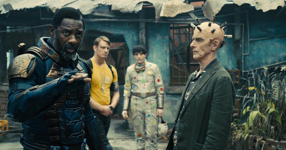 "Idris Elba as Bloodsport, Joel Kinnaman as Colonel Rich Flag, David Dastmalchian as Polka-Dot Man and Peter Capaldi as Thinker in director James Gunn's ""The Suicide Squad."" Cr: Warner Bros. Pictures/DC Comics"