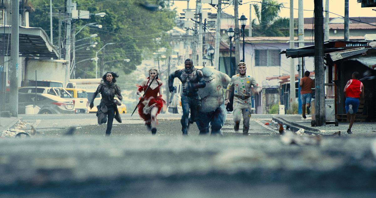 "Daniela Melchior as Ratcatcher 2, Margot Robbie as Harley Quinn, Idris Elba as Bloodsport, KING SHARK and DAVID DASTMALCHIAN as Polka-Dot Man in director James Gunn's ""The Suicide Squad."" Cr: Warner Bros. Pictures/DC Comics"