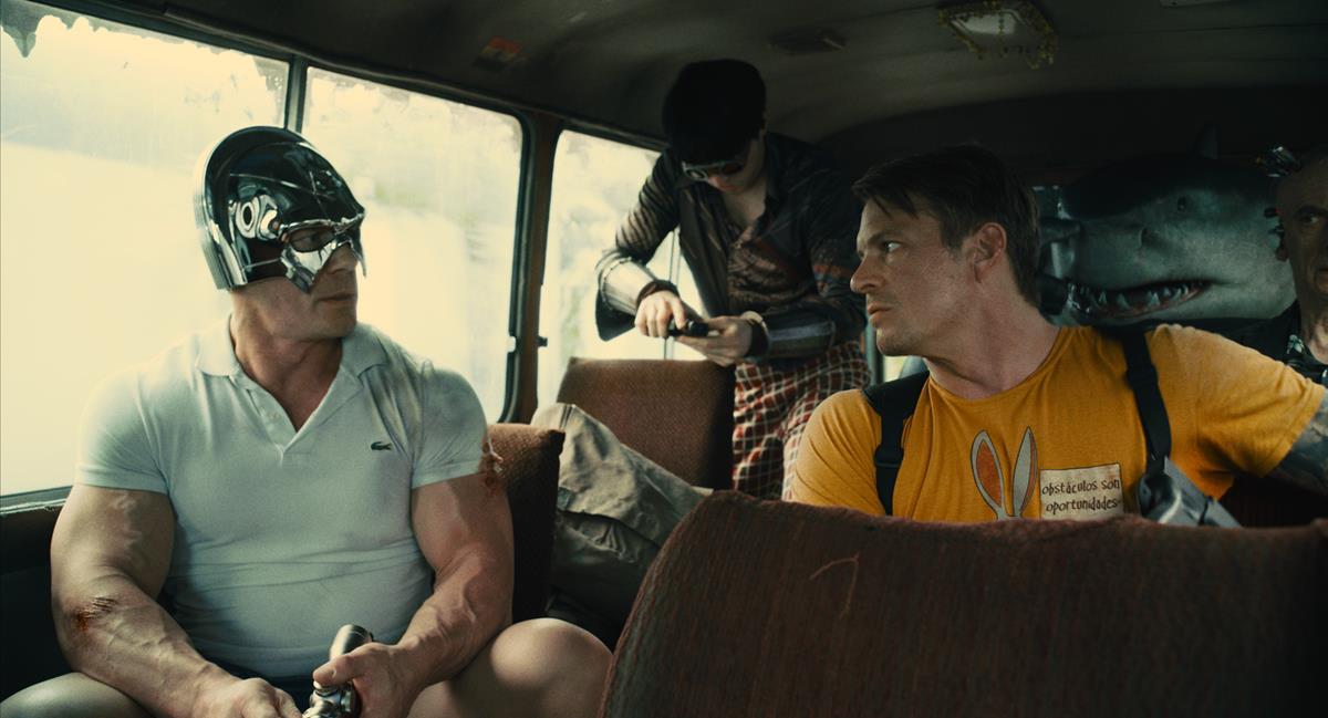 "John Cena as Peacemaker, David Dastmalchian as Polka-Dot Man, Joel Kinnaman as Colonel Rich Flag, King Shark and Peter Capaldi as Thinker in director James Gunn's ""The Suicide Squad."" Cr: Warner Bros. Pictures/DC Comics"