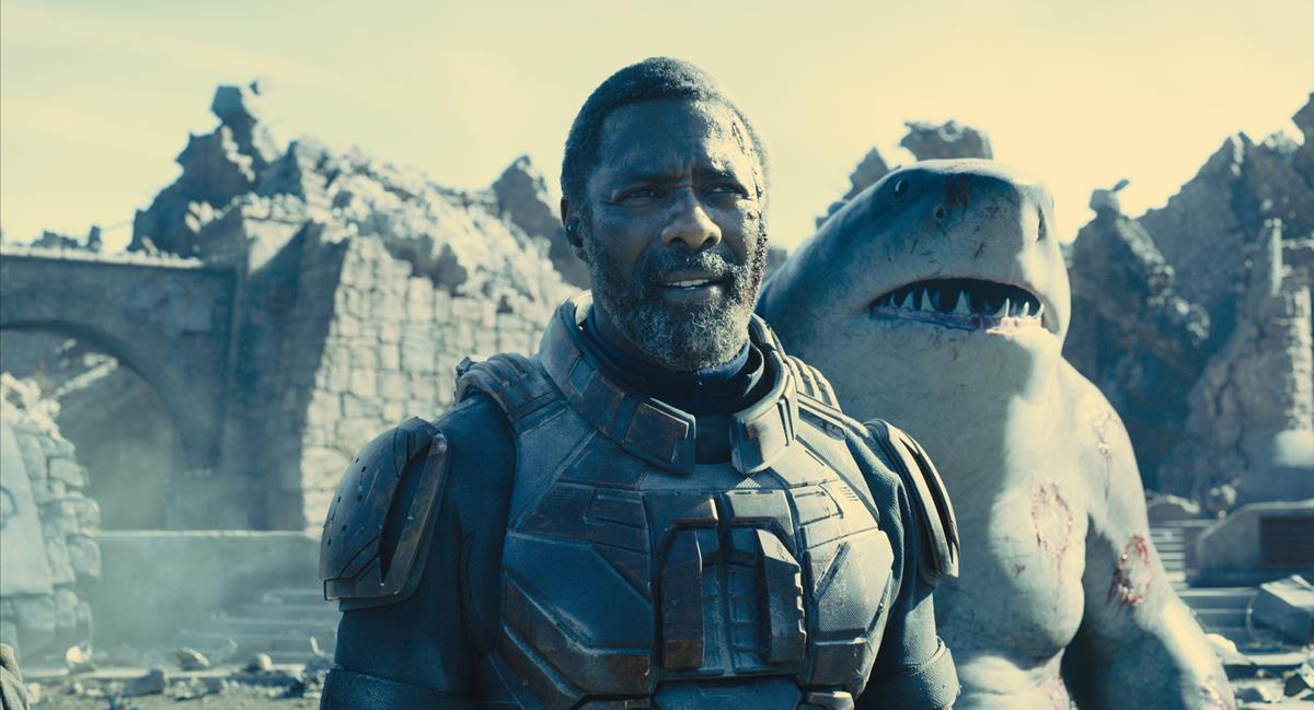 """Idris Elba as Bloodsport and King Shark in director James Gunn's """"The Suicide Squad."""" Cr: Warner Bros. Pictures/DC Comics"""