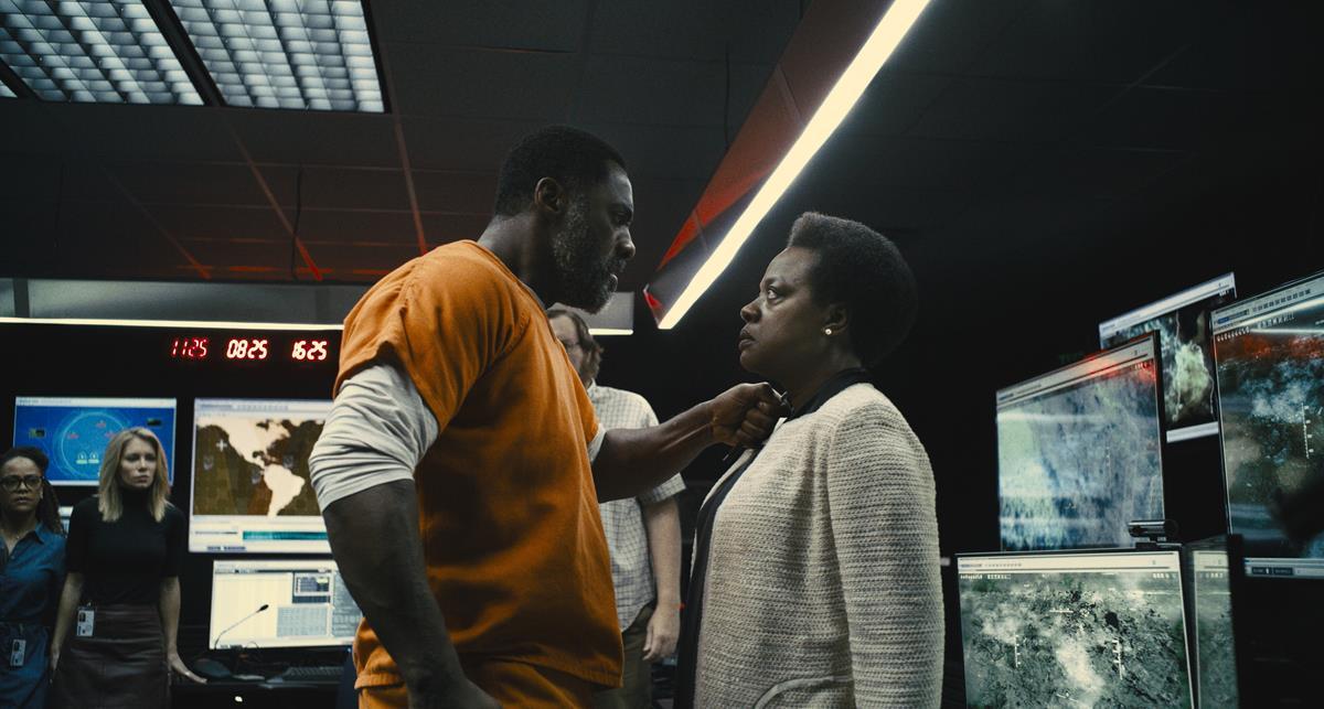 "Idris Elba as Bloodsport and Viola Davis as Amanda Waller in director James Gunn's ""The Suicide Squad."" Cr: Warner Bros. Pictures/DC Comics"
