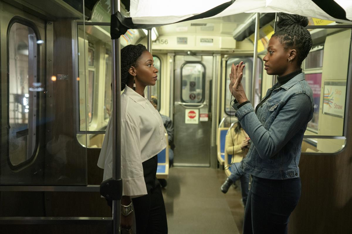 """Teyonah Parris and director Nia DaCosta on the set of """"Candyman."""" Cr: Universal Pictures"""