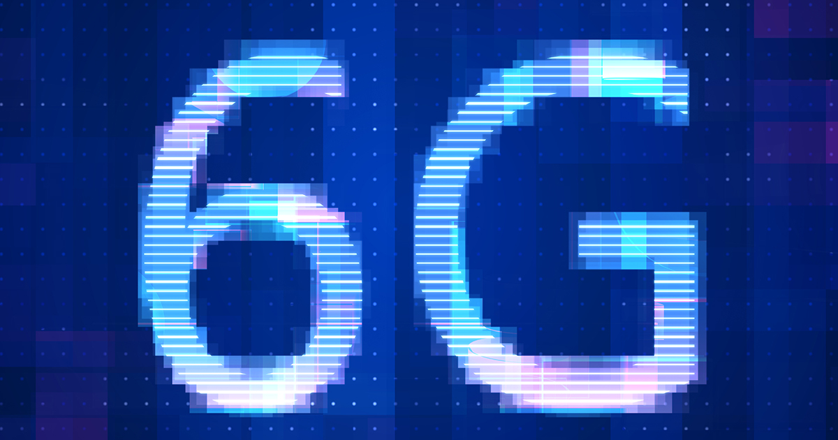 6G Network Internet Mobile icon technology blue background