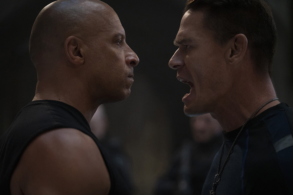 """Dom (Vin Diesel) and Jakob (John Cena) in """"F9,"""" co-written and directed by Justin Lin. Copyright © 2021 Universal Studios. All Rights Reserved. Photo Credit: Giles Keyte/Universal Pictures"""