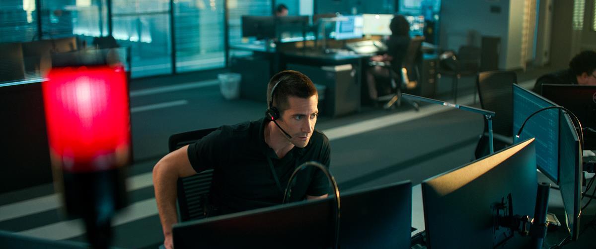 "Jake Gyllenhaal as Joe Baylor in director Antoine Fuqua's ""The Guilty."" Cr: Netflix"