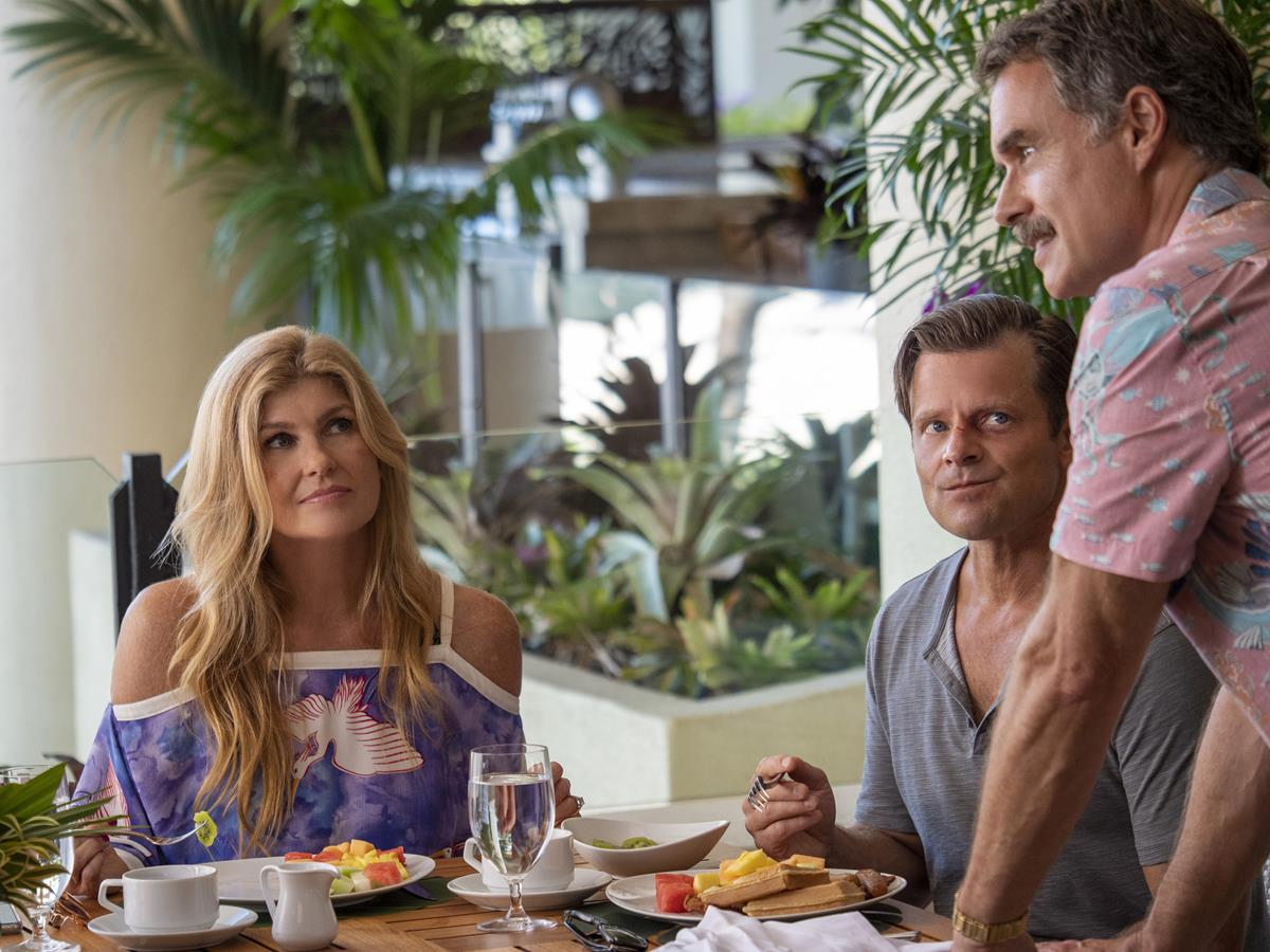 """Connie Britton as Nicole Mossbacher, Steve Zahn as Mark Mossbacher, and Murray Bartlett as Armond in Episode 6 of """"The White Lotus."""" Cr: HBO"""