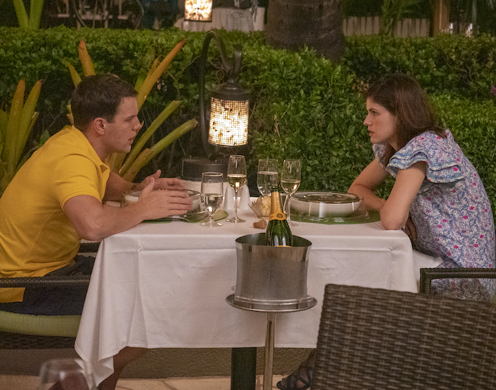 """Jake Lacy as Shane Patton and Alexandra Daddario as Rachel Patton in Episode 2 of """"The White Lotus."""" Cr: HBO"""