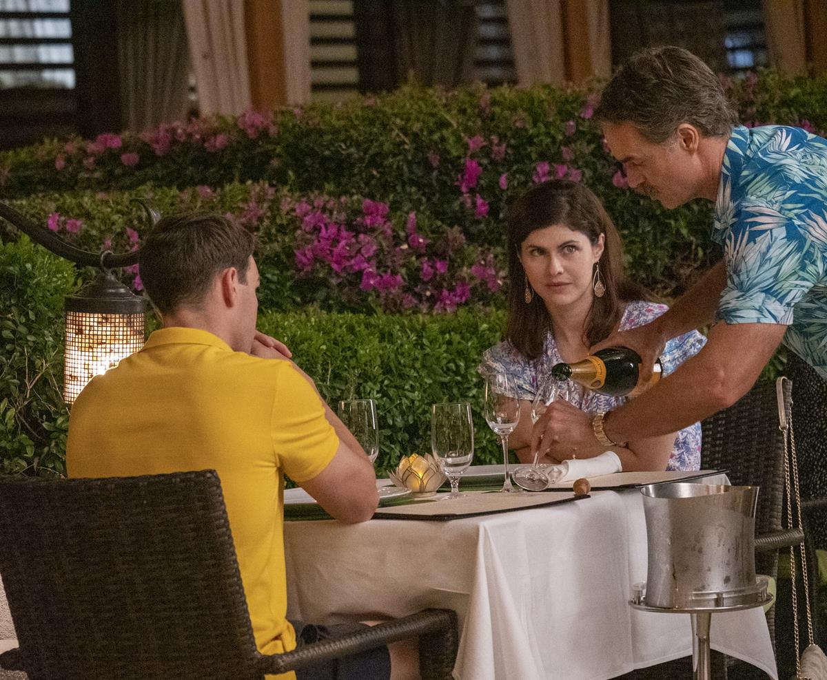 """Jake Lacy as Shane Patton, Alexandra Daddario as Rachel Patton, and Murray Bartlett as Armond in Episode 2 of """"The White Lotus."""" Cr: HBO"""