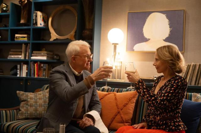 """Steve Martin as Charles and Amy Ryan as Jan in Episode 7 of """"Only Murders in the Building."""" Cr: Hulu"""