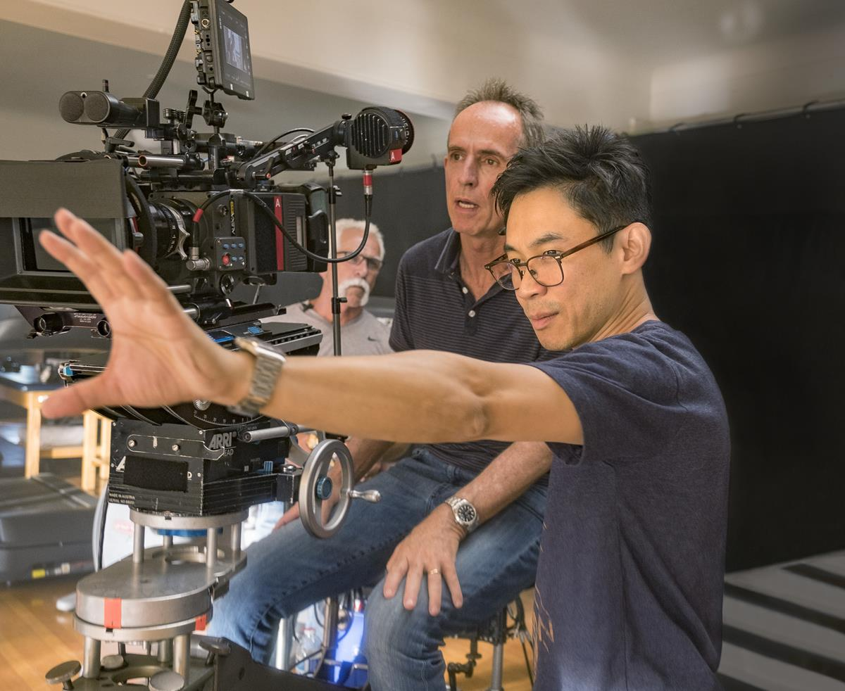 """Director James Wan on the set of """"Malignant."""" Cr: Warner Bros. Pictures"""