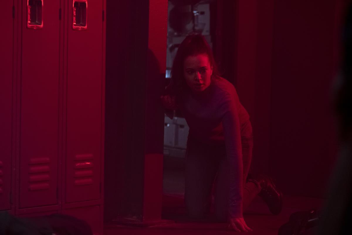 """Ingrid Bisu as CST Winnie in """"Malignant."""" Cr: Warner Bros. Pictures"""
