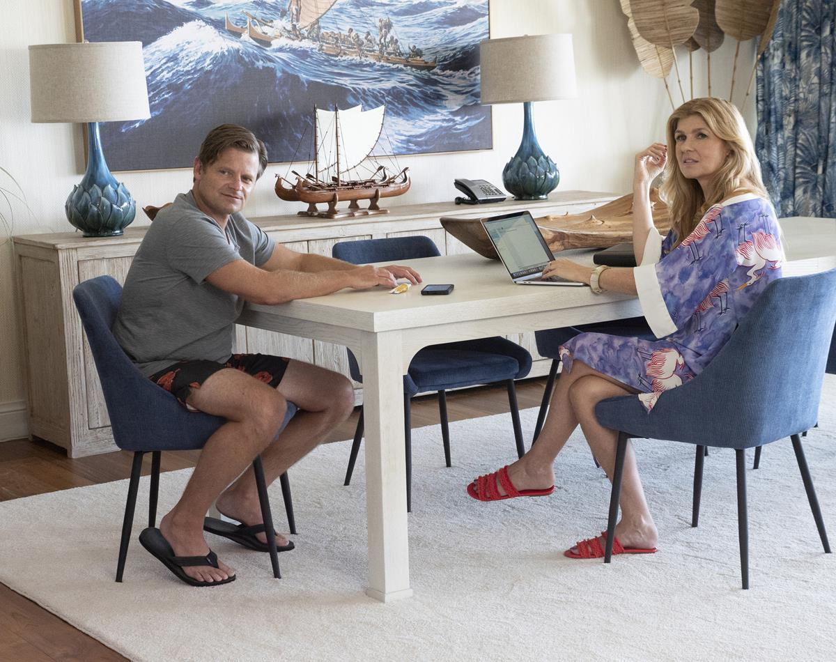 """Steve Zahn as Mark Mossbacher and Connie Britton as Nicole Mossbacher in Episode 6 of """"The White Lotus."""" Cr: HBO"""